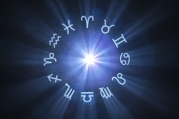 3D rendered illustration of glowing astrology zodiac signs on starry dark background.