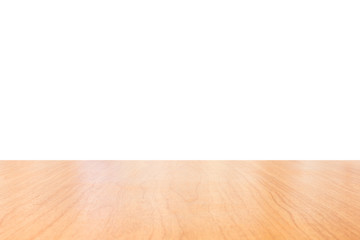 Empty top of wooden table or counter isolated on white. Saved with clipping path