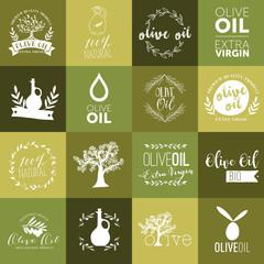 Set of olive oil labels, badges and logos for design. Vector illustration.
