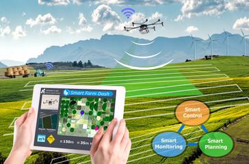 Smart farming 4.0 , Hi-Tech Agriculture conceptual, Drone AI automatic