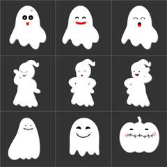Halloween cute ghost icon set