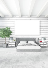White bedroom minimal Interior design with wood wall and copyspace into an empty frame. 3D Rendering. 3D illustration