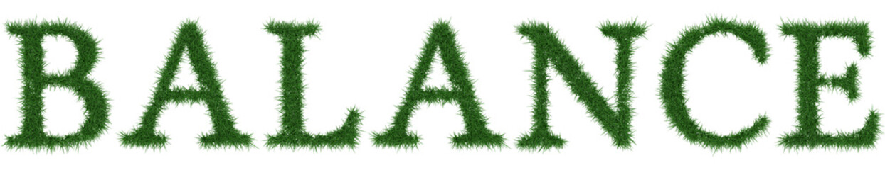 Balance - 3D rendering fresh Grass letters isolated on whhite background.