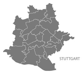 Stuttgart city map with boroughs grey illustration silhouette shape