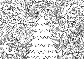 Storm flow and christmas tree line art design for cards and adult coloring book page.