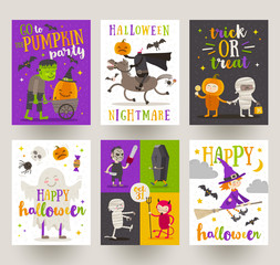 Set of Halloween posters or greeting card with cartoon characters, holiday sign, symbols and type design. Vector illustration.