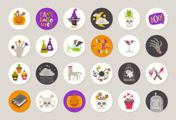 Set of Halloween gift tags and labels with holiday greetings, objects, sign and symbol. Vector illustration.