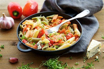 Multicolored penne pasta with vegetables. Roasted red bell pepper, tomatoes, garlic and young parsley