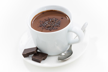 hot chocolate in a cup, closeup, top view