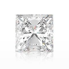 3D illustration princes diamond stone with reflection