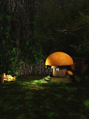 Gnome Sitting Outside a Toadstool House in the Forest at Night - fantasy illustration