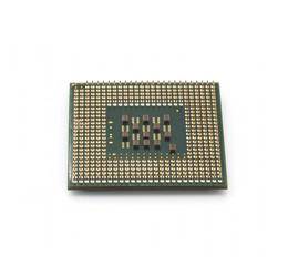 Cpu close up on isolated white background