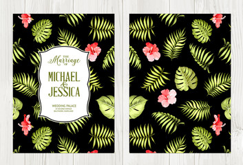 Botanical cover design. with seamless tropical pattern. Summer flowers of hibiscus at book cover. Beautiful tile with a tropical flowers on black background. Vector illustration.