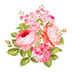 Summer flowers bouquet of color bud garland. Vector illustration.