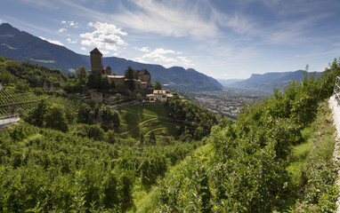 Castel Tyrol and Val passiria view from the hills of Tyrol, South tyrol, Italy