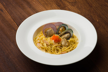 Pasta with seafood , scallop and mussel
