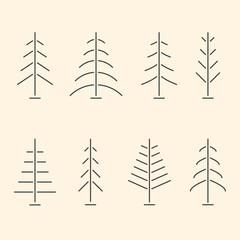 Set of abstract minimalistic Christmas trees