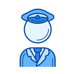 Traffic policeman vector line icon isolated on white background. Traffic policeman line icon for infographic, website or app. Blue icon designed on a grid system.