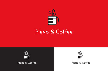 Piano and coffee Logo Illustration