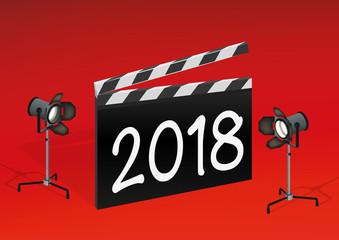 2018 - cinéma - présentation - année - carte de vœux - clap,