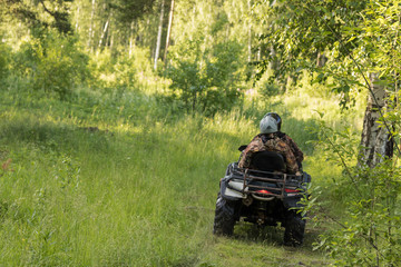 An ATV on a forest road
