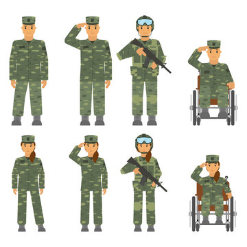 Vector set of soldier man, woman isolated on white background