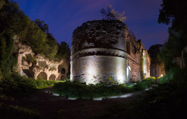 Abandoned Tarakaniv Fort in the night