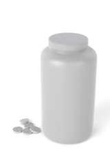 3D realistic render of plastic container for drugs with pile of tablets on ground. Isolated on white background with shadows. Template for your design.