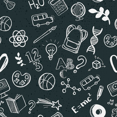 Hand drawn sketch school supplies objects. Vector illustration. Chalkboard background. Education doodle icons.