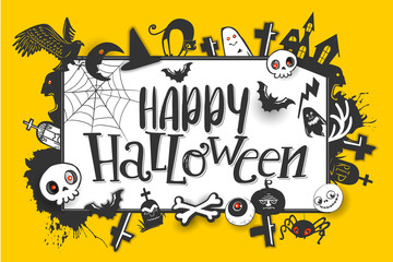 Happy Halloween horizontal banner with hand lettering greetings and sketch cartoon style horror characters. Vector illustration. Yellow background. Pumpkin, skull, bird, bat, ghost, cat, grave