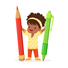 Cute black little girl holding giant red pencil and green pen cartoon vector Illustration