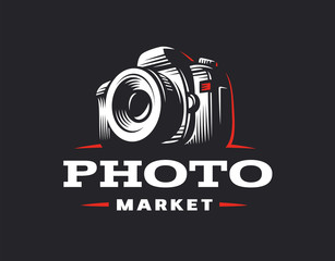 Photo camera logo - vector illustration. Vintage emblem design