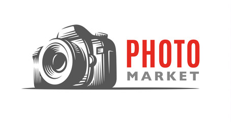 Photo camera logo - vector illustration. Classic emblem design