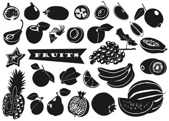 Silhouettes of fruits with leaves on white background. Set. Vector.