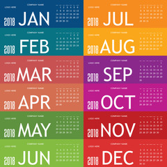 calendar for year 2018 with color card set one