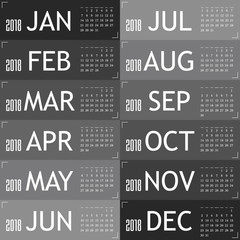 calendar for year 2018 with gray card illustration