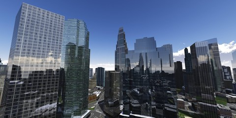 Beautiful view of the city, panorama of the city, clouds over skyscrapers, 3d rendering