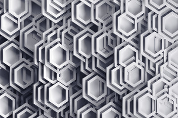 Background in gray colors with abstract randomly arraged hexagonal shapes and frames. 3D illustration.