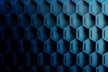 Geometric futuristic honeycomb pattern in dark blue colors. Background with hexagonal repeating shapes. 3D illustration.