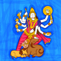 Abstract Statue painting of Indian Goddess Durga sculpture