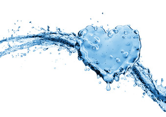 Water splash in the form of a heart.