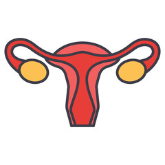 Uterus, female gynecology concept. Line vector icon. Editable stroke. Flat linear illustration isolated on white background