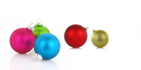 Variety of christmas balls on white background
