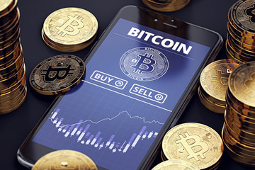 Smartphone with Bitcoin chart on-screen among piles of Bitcoins. Bitcoin trading concept. 3D rendering
