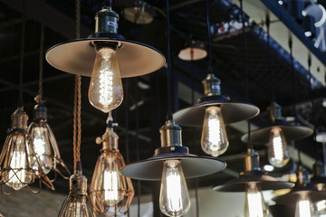Vintage metal cap lamp hanging from the ceiling.