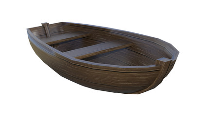 3D Rendering Wooden Boat on White