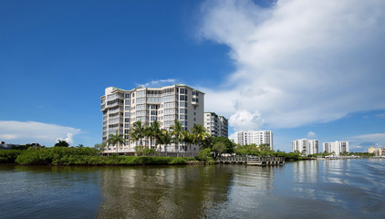 Fort Myers Beach backside waterfront condo skyline
