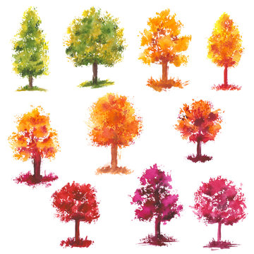 Set of Watercolor Autumn Green, Yellow and Pink Trees
