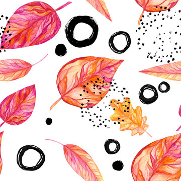 Seamless Pattern of Watercolor Leaves, Circles and Dots