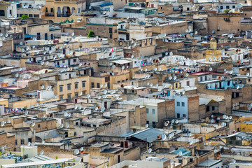 Fes, Marocco, North Africa. Roofs of the medina.